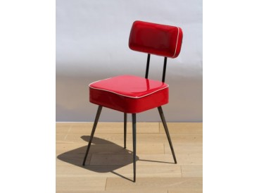 Chaise vinyle rouge